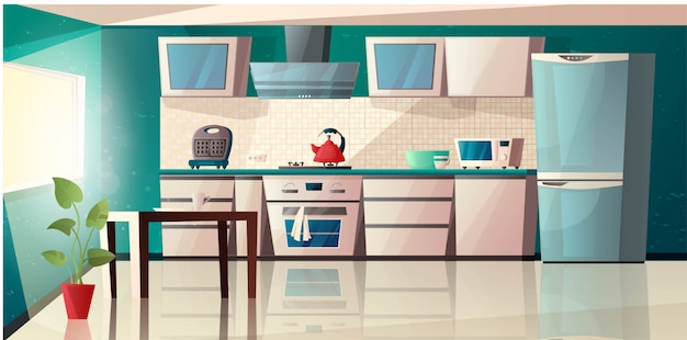 Modern kitchen interior with equipment. oven, microwave, kettle, toaster, extractor hood, table, fridge and pot with plant. cartoon  illustration.