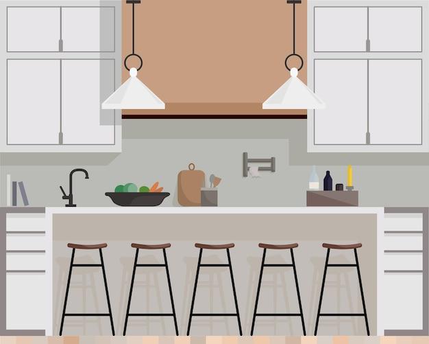 家具や調理器具を備えたモダンなキッチンインテリア。キッチンの漫画のリアルなフラットデザイン