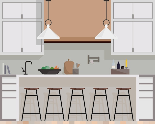 Modern kitchen interior with furniture and cooking devices. cartoon realistic flat design of kitchen