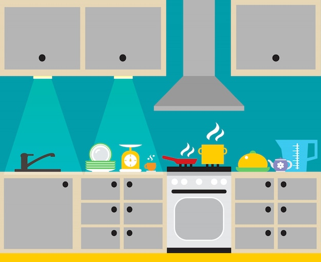 Modern kitchen interior with furniture and household equipment poster vector illustration