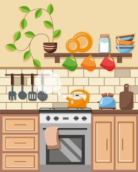 家具、棚、ストーブ、調理鍋、ガスの笛を吹くやかんを備えたモダンなキッチンインテリア。フラットスタイルのベクトル図