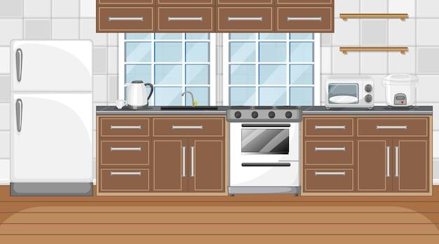 Modern kitchen interior with furniture