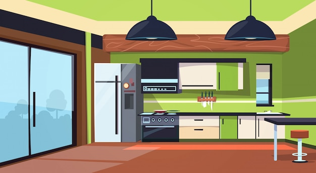 Modern kitchen interior with stove, fridge and cooking appliances