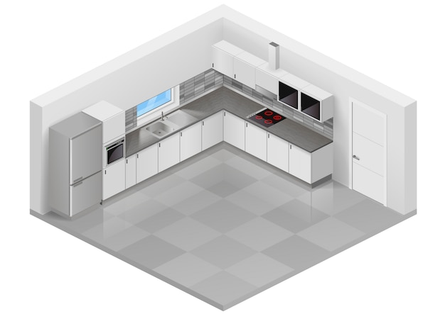 Modern kitchen isometric