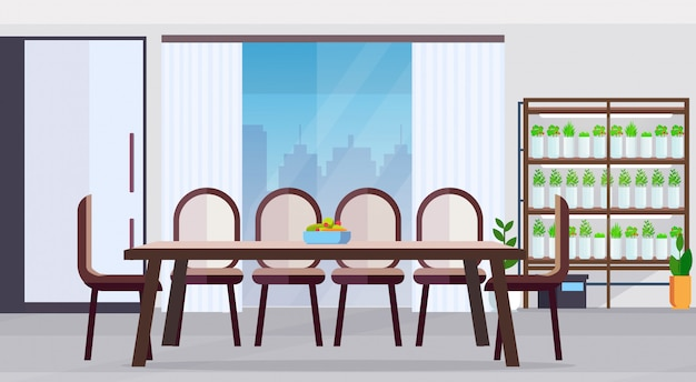 Modern kitchen no people interior design big round dining table with fruits and vegetables plate smart plants growing system concept flat horizontal