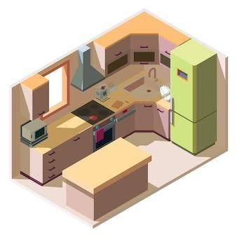 Интерьер современной кухни с мебелью и бытовой техникой в изометрическом стиле
