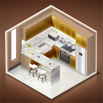 Modern kitchen room interior with furniture and household appliances in isometric style