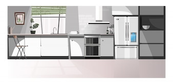 Modern kitchen room with appliances illustration