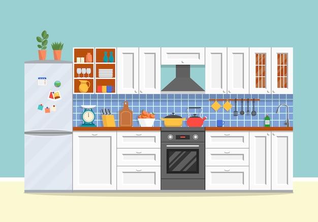 家具付きのモダンなキッチン。ストーブ、食器棚、食器、冷蔵庫を備えた居心地の良いキッチンインテリア。 Premiumベクター