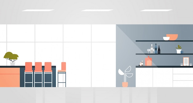 Modern kitchen with furniture empty no people house room interior flat horizontal