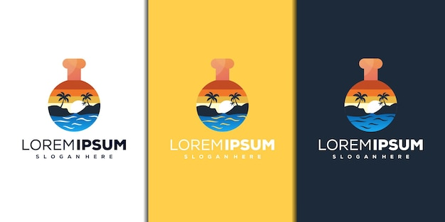 Современный дизайн логотипа лаборатории и пляжа