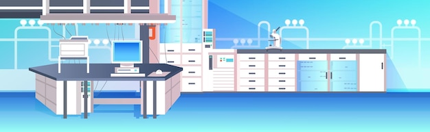 현대 실험실 인테리어 빈 가구 가로 일러스트와 함께 사람이 화학 실험실