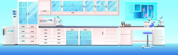 Modern lab interior empty no people chemical laboratory with furniture horizontal illustration