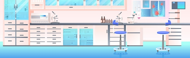 Современный интерьер лаборатории пустой без людей химическая лаборатория с мебелью горизонтальная иллюстрация
