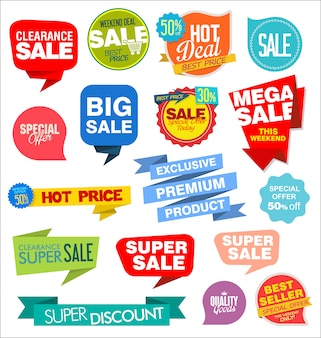 Modern labels badges and tags vector illustration