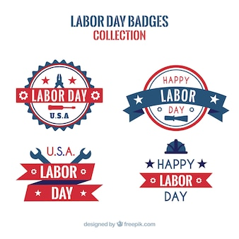 Modern labor day badge collection