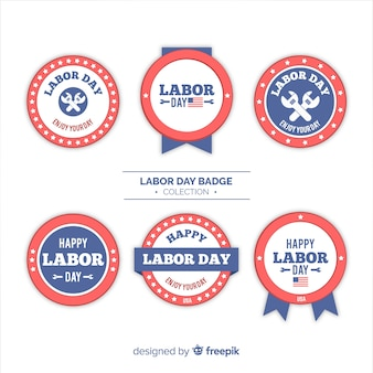 Modern labor day label collection