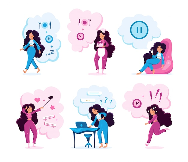 Modern lady life activities vector characters set