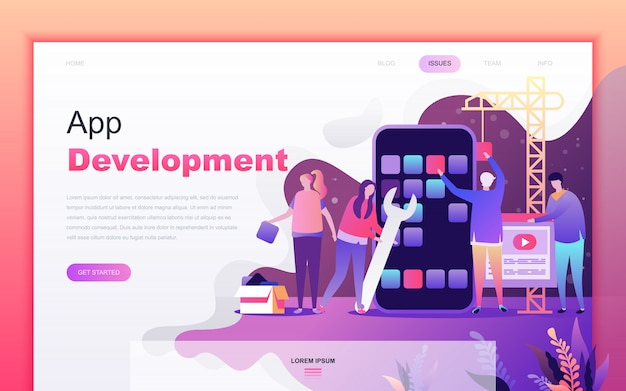 Modern landing page of app development