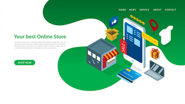Modern landing page design template with vector illustration of online shop with some elements