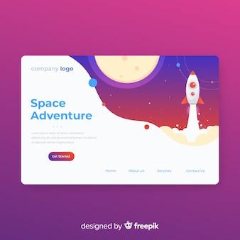 Modern landing page template in flat design
