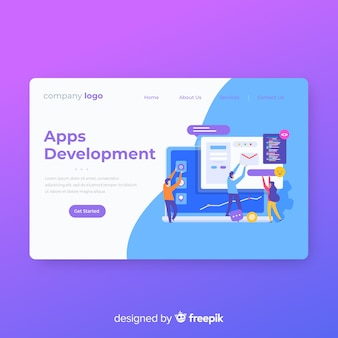 Modern landing page template in flat design