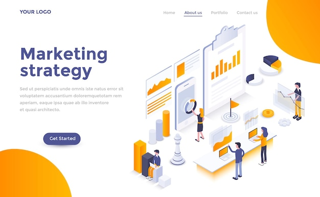 Modern landing page template of  marketing strategy in isometric style