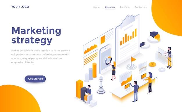 Современный шаблон целевой страницы маркетинговой стратегии в изометрическом стиле
