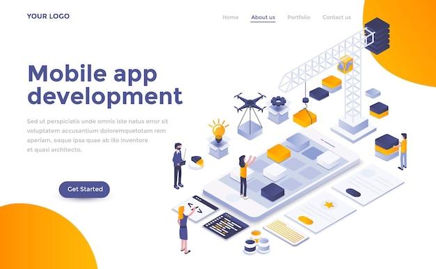 Современный шаблон целевой страницы разработки мобильного приложения в изометрическом стиле