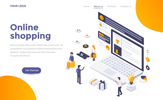 Modern landing page template of  online shopping in isometric style