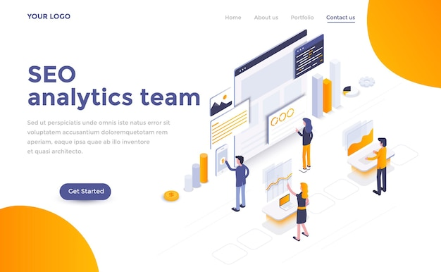 Modern landing page template of  seo analytics team in isometric style