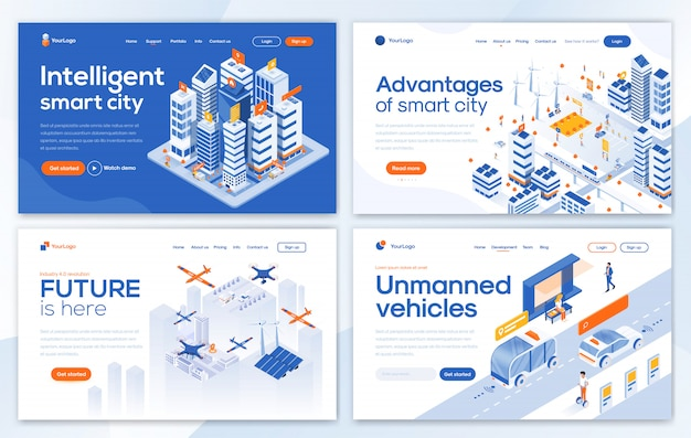 Modern  of landing page template -smart city set