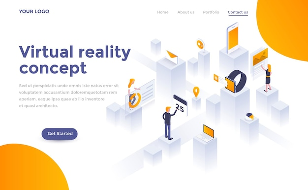 Modern landing page template of  virtual reality in isometric style
