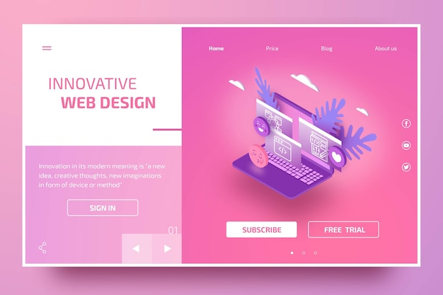 Modern landing page template with isometric laptop