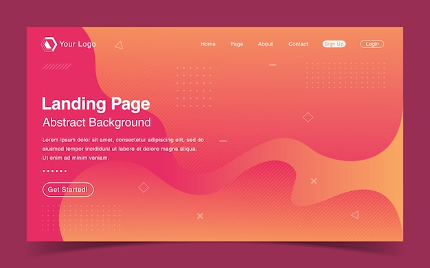 Modern landing page with abstract background
