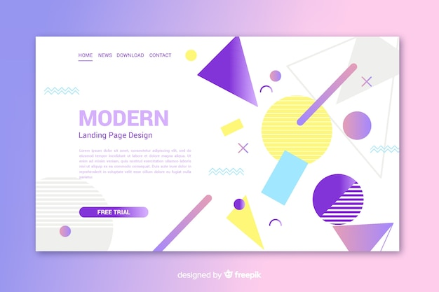 Modern landing page with geometric shapes