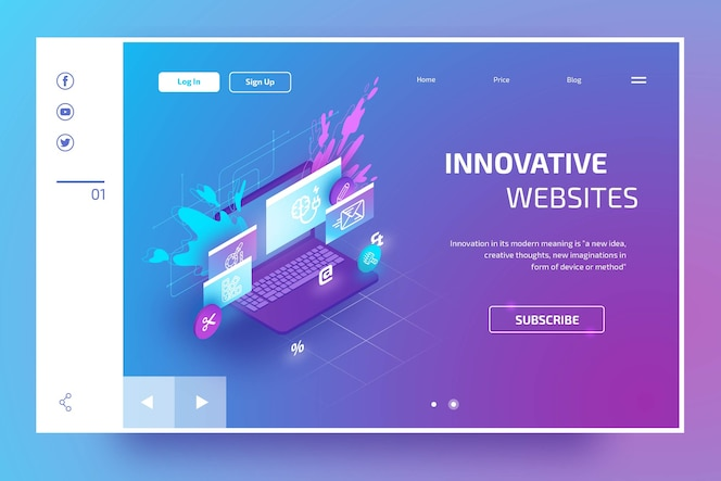 Modern landing page with isometric laptop