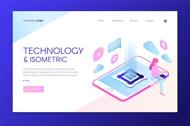 Modern landing page with isometric tablet