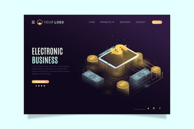 Modern landing page with isometric technology