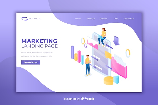Modern landing page with marketing concept
