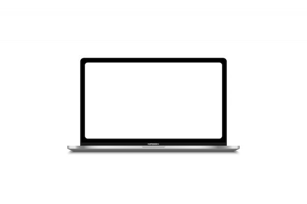 Modern laptop computer isolated on white  template for content