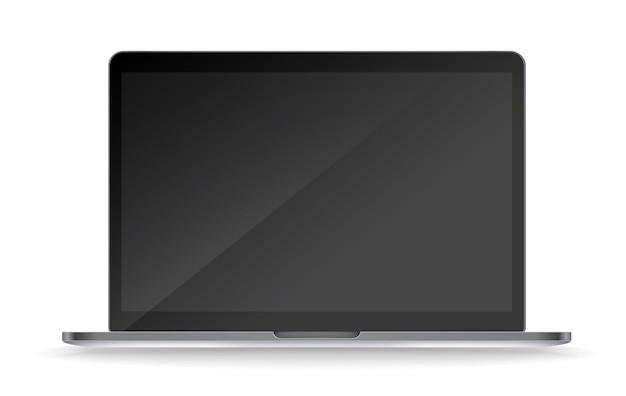 Современный ноутбук, изолированные на белом фоне. темный экран