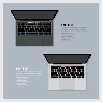 Modern laptop isolated vector illustration