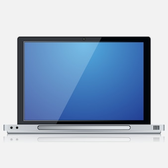 Modern laptop realistic vector icon on white background