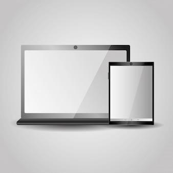 Modern laptop tablet gadgets technology