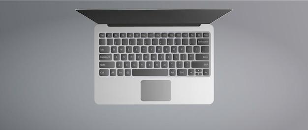 Вид сверху современный ноутбук. открытый ноутбук на сером фоне. реалистичный