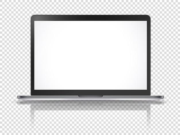 Современный ноутбук векторный макет с отражением, изолированные на прозрачном фоне