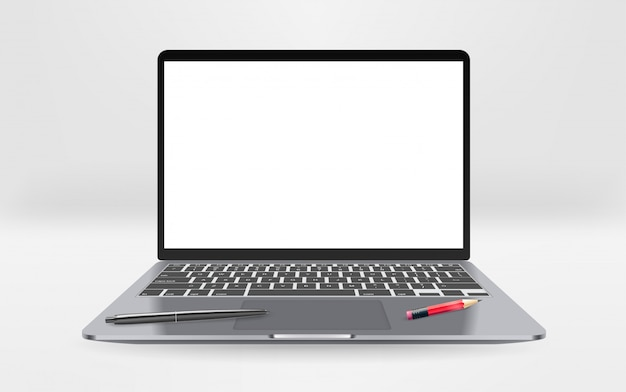 Modern laptop with empty screen with pen and pencil