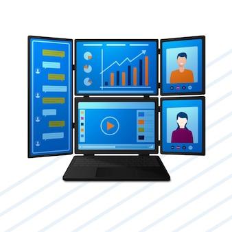 업무 커뮤니케이션 화상 회의 및 엔터테인먼트를 위한 여러 화면이 있는 최신 노트북