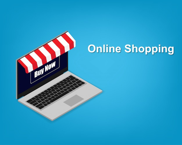 Modern laptop with online shopping